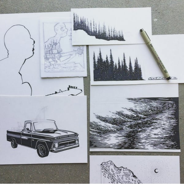 Assorted original drawings for the poster