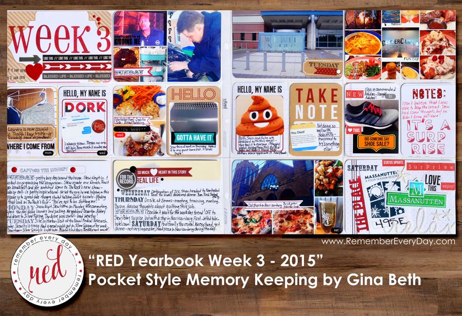 RED Yearbook Pocket Scrapbooking - Week 3 by Gina Beth