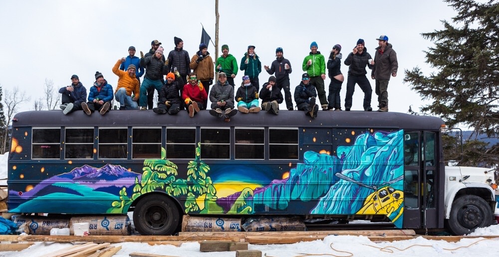 In the winter of 2017, I flew to Haines, Alaska, to paint a mural on the 35 foot Alaska Heliskiing dispatch bus!