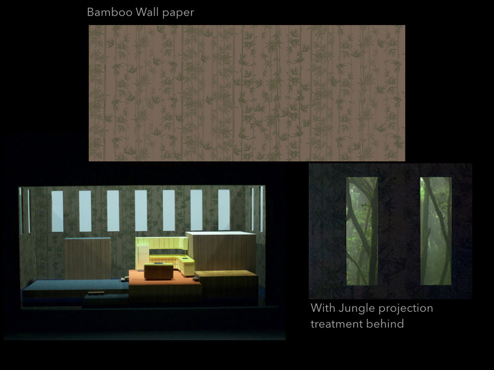 "The walls show a motif of 1960's graphic bamboo wallpaper, which was popular at the time, but also serves as a reference to the war, the jungle and how this broken home is an expression of the mindscape of those imprisoned by it — not only Thompson but Alyce as well who is enslaved in her domestic prison.   The walls contain thirteen 10'0"" x 3'0"" simplified openings, abstracted windows, high up, serving as a prison bar motif, but also as a mechanism through which to view projection and bring further light and information into the contained world of the opera.   The taller platforms are accessible by escape stairs to their rear, and the wall surround has entrance and exit doors outside of sightlines."