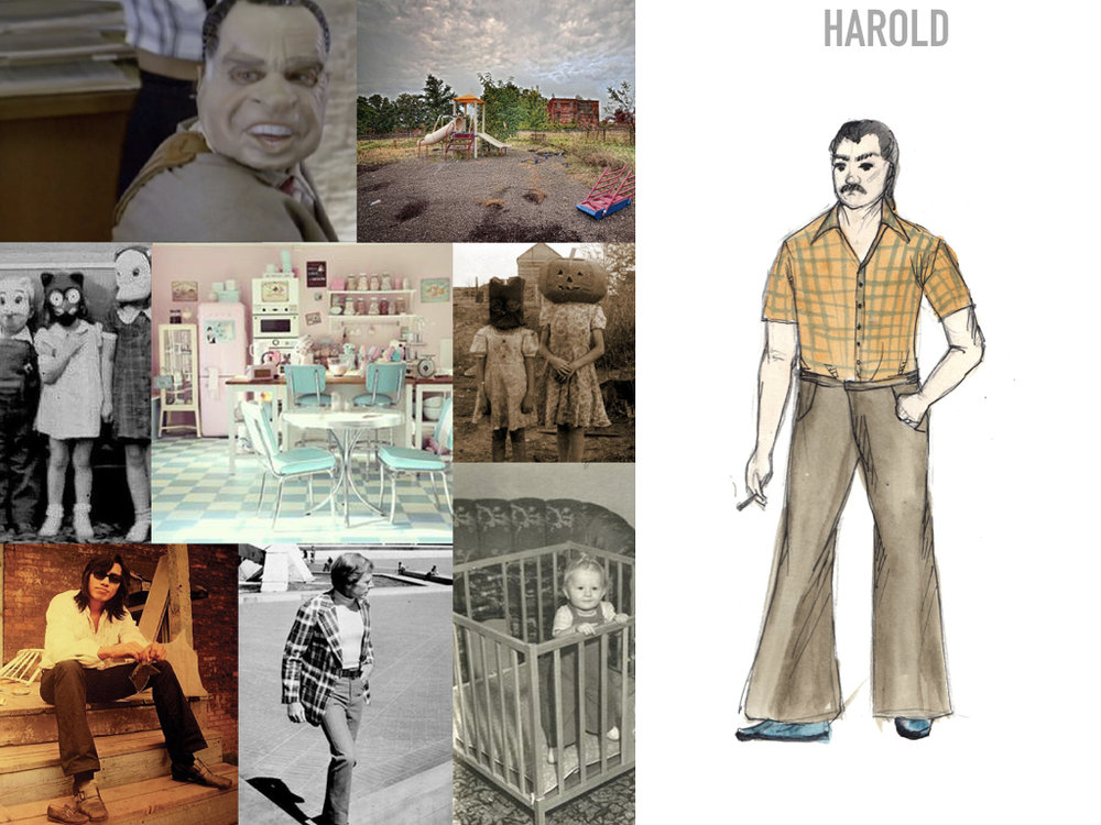 We also see an added character – Harold, the sexy boyfriend, who feeds Older Thompson's obsessive fantasies about Older Alyce's and Harold's sexual encounters.   We intend to create a sincere, honest world for these characters, even though the use of grotesque elements in the costume design might suggest otherwise; and portray the heartbreaking toll war and imprisonment – both metaphorical and real – takes on the relationship of these two people.