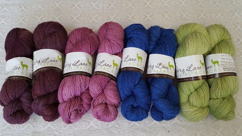 Gorgeous new sock yarn from Hickory Lane Alpacas that has been hand dyed by Paula of Li'l Red Kettle Head.