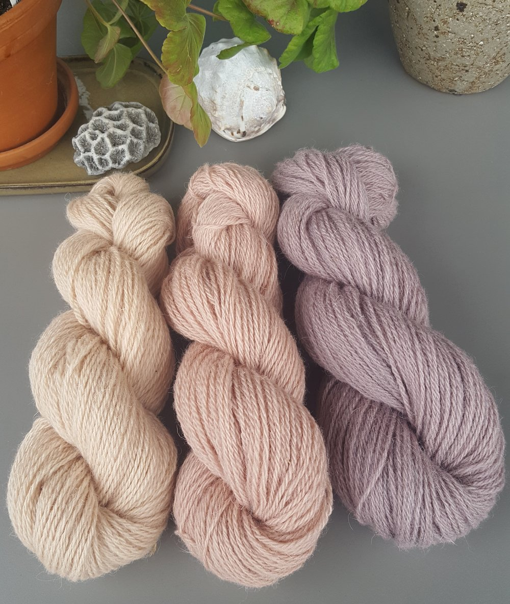 Naturally dyed wool from St Joseph Island