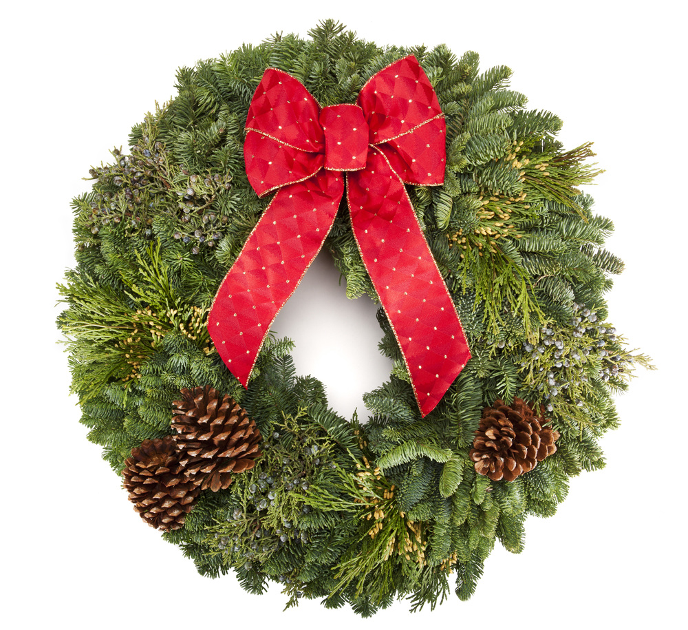 "The Classic 22"" Mixed Evergreen Wreath."