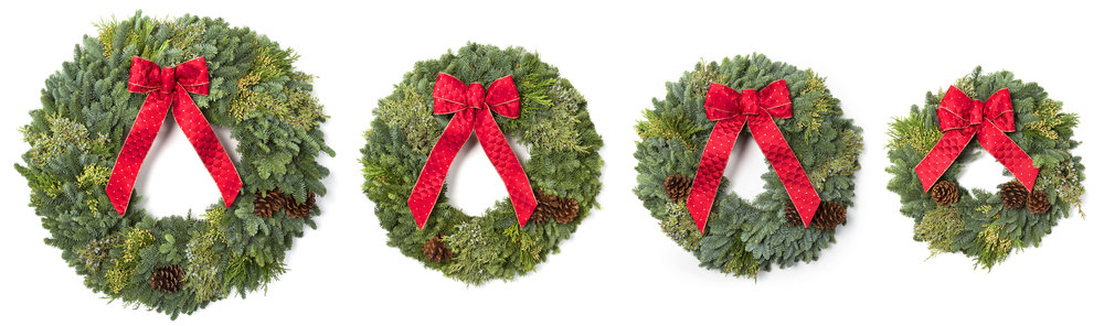 "Granstrom Evergreens Wreaths: A 30"" Wreath, 26"" Wreath, 22"" Wreath and our 18"" Wreath."