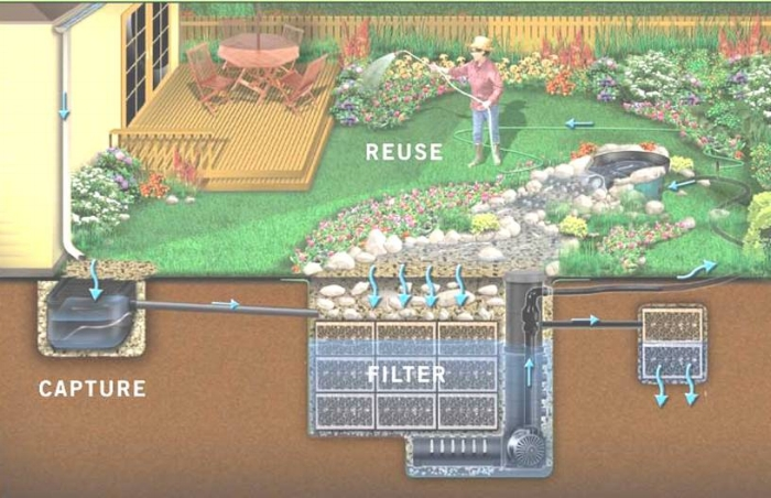 Rain xchange system for rain gardens and irrigation needs