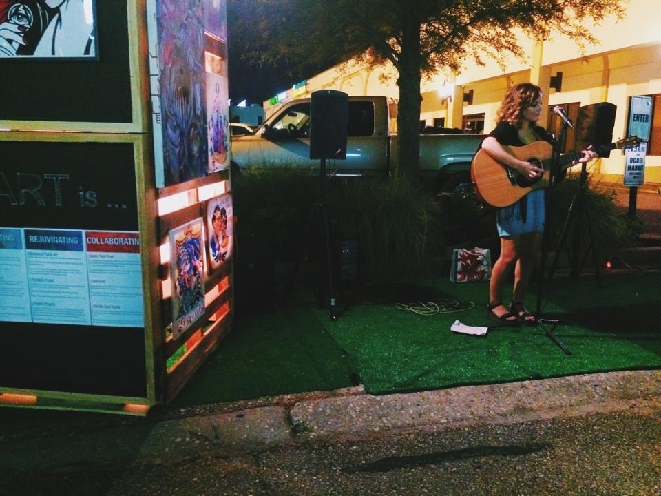 Emily Kaye Miller outside of Radio Bar for Mid City Park(ing) Day