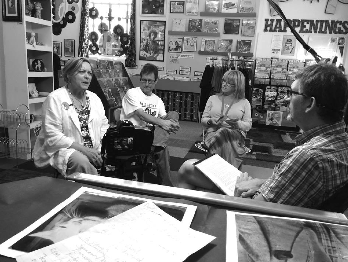 Tim Parrish interviewing the Landing Crew at Atomic Pop Shop (2015). Photo provided by Bennet Rhodes.