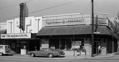Tiger Town Pharmacy & Varsity Theater in 1977. Photo provided by the NGMA.
