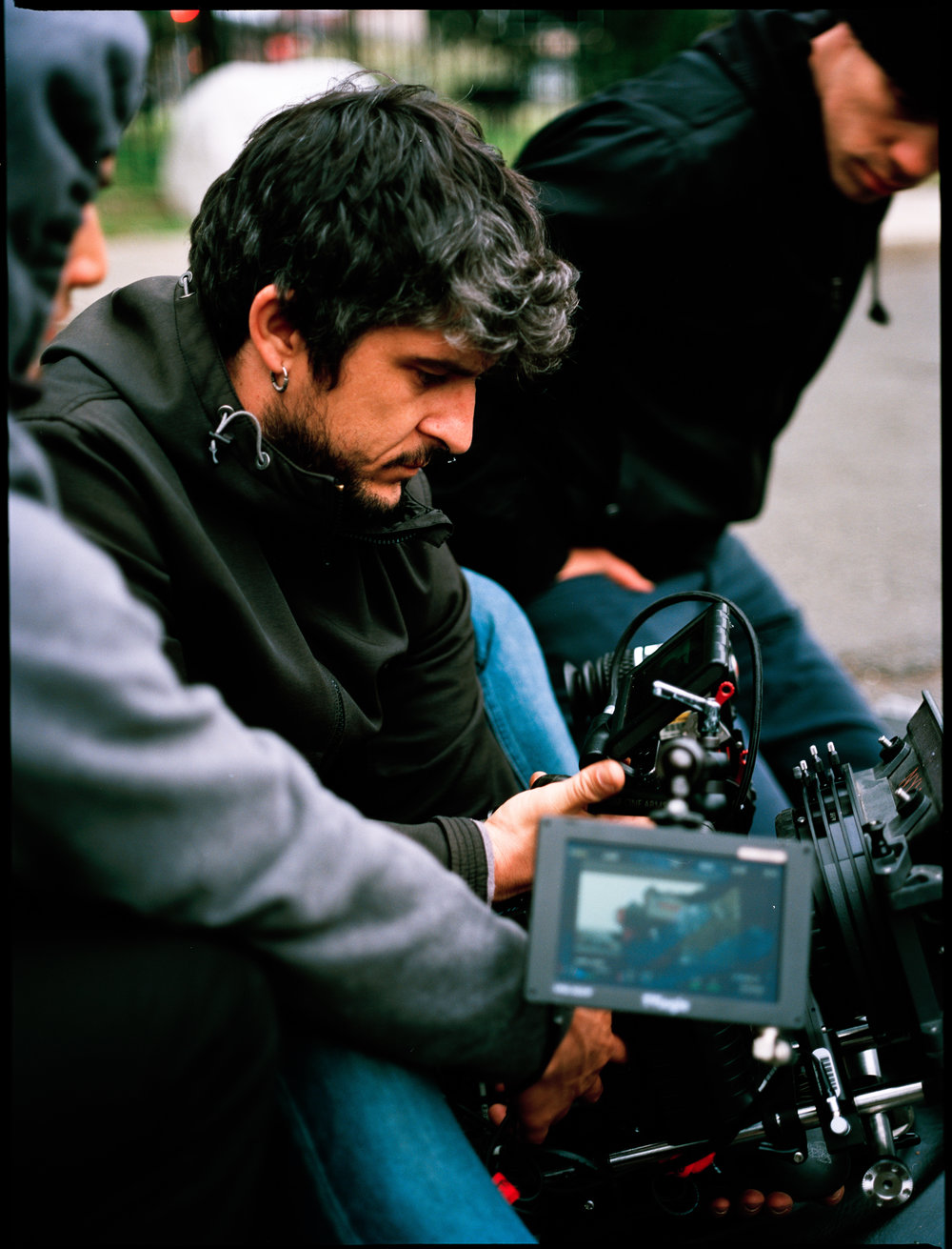"2nd AC Charlie Muentes, DP Felipe Vara de Ray, and stunt coordinator Josiah Nolan on the set of ""See You Yesterday""  645 Kodak Ektar (Medium Format)"