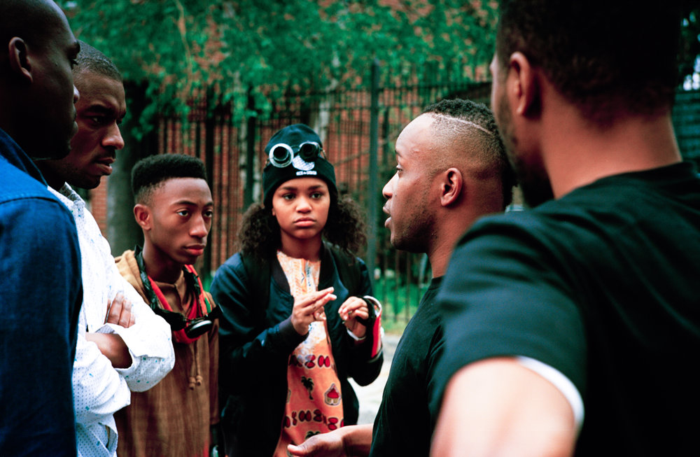 "From L to R: actors Melvin Mogoli, Parish Bradley, Dante Crichlow, Eden Duncan-Smith, writer/director Stefon Bristol, and actor Raliq Johnson on the set of ""See You Yesterday""  Kodak Ektar (35mm)"