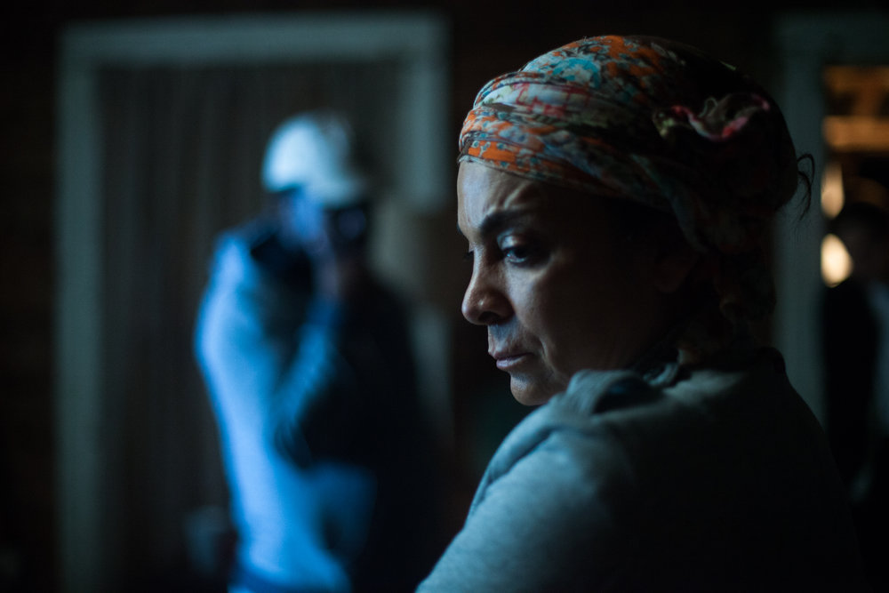 Actress Jasmine Guy between takes of a particularly tough scene for everybody  Canon 5d
