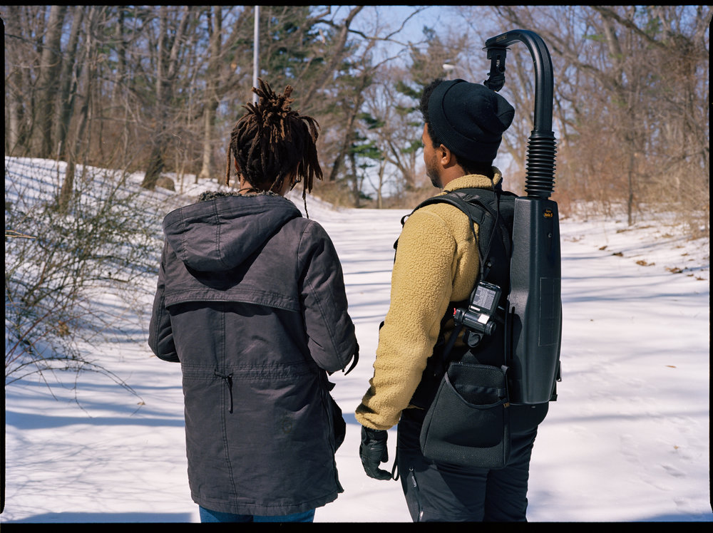 "Writer/director Raven Jackson and cinematographer Jomo Fray on the set of ""Nettles""  645 Kodak Ektar (Medium Format)"