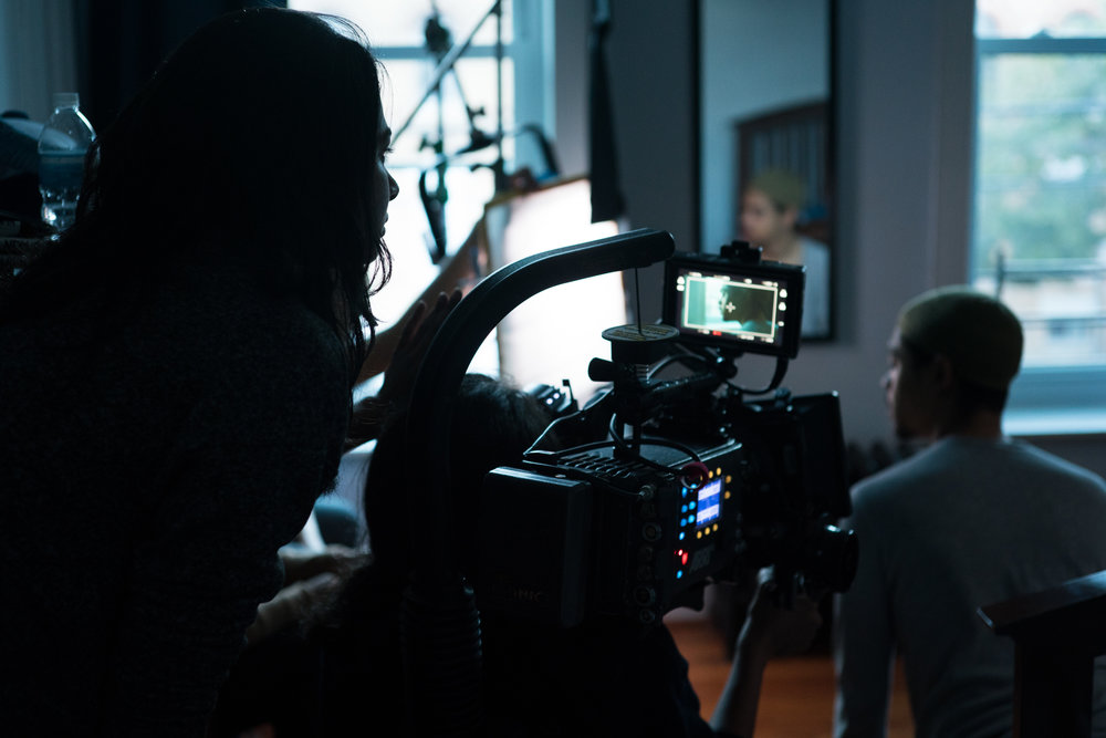 Writer/director Ria Tobaccowala, cinematographer Lore Durán, camera Alexa Amira, and actor Reynaldo Piniella go into a take