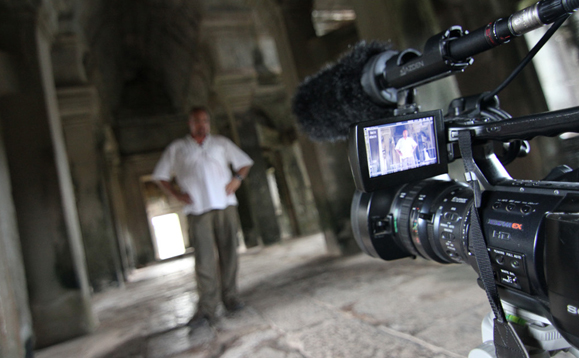 Paul and I filming in the Angkor Wat Temple complex.