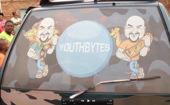 The Youthbytes van all tricked out for work in the townships of Johannesburg.