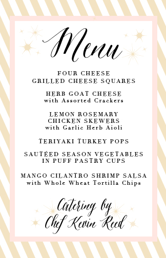 The Food Menu (by Chef Kevin Reed)