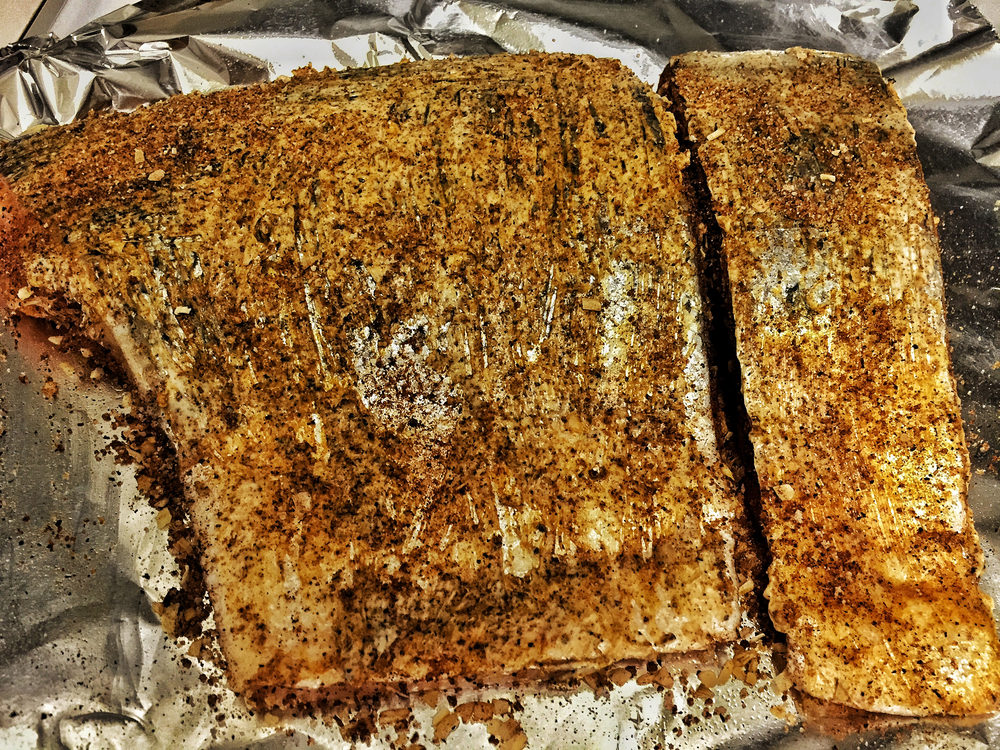 "Here's the ""Before"" - Salmon all rubbed up in butter!"