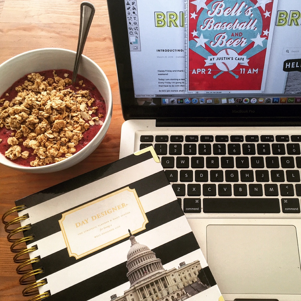 My at-home work setup: Macbook, Smoothie Bowl, and my DC-ified Day Designer