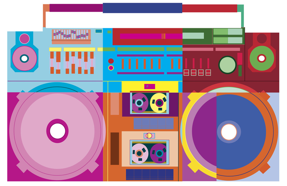 Boombox Designed Into 6 Different Color Scheme Sections Each Representing One Of The Six Harmonies Monochromatic Complementary Split