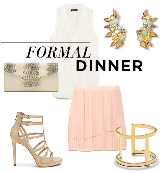 From top left, moving clockwise: Inverted Pleat Blouse; Cuff Clip Earrings; Pleated Faux-Wrap Skirt; T-Cuff; Revelli Sandal; Julia Clutch