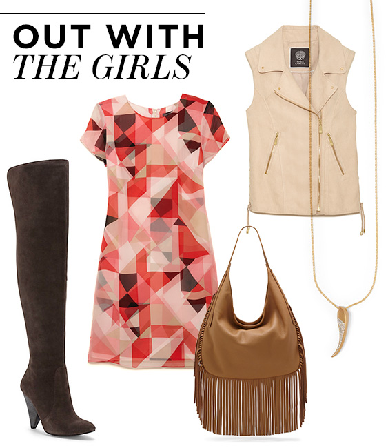 From left, moving clockwise:  Hollie Over the Knee Boot ;  Cap Sleeve Sorbet Squares Shift Dress ;  Blush Suede Vest ;  Pendant Necklace ;  Shea Hobo Bag