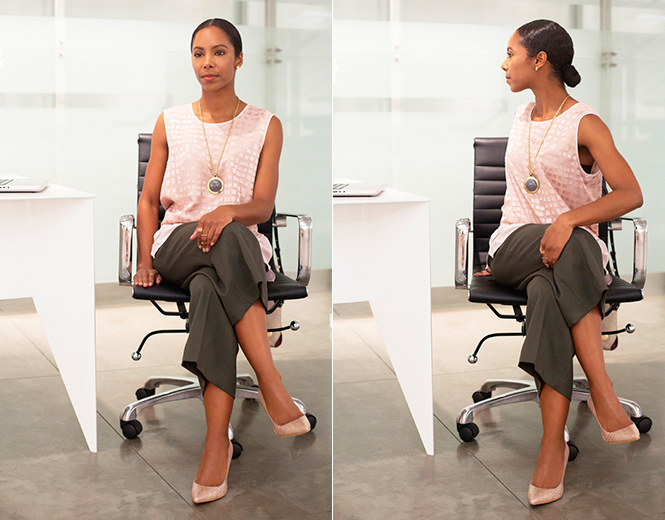 Lumbar Stretch Sit upright at the edge of your chair. Cross your legs,  right over left. Slowly rotate your torso to the right while using your  left hand to ... - Deskercise: Simple Stretches For The Office €� VINCE CAMUTO - THE CREST