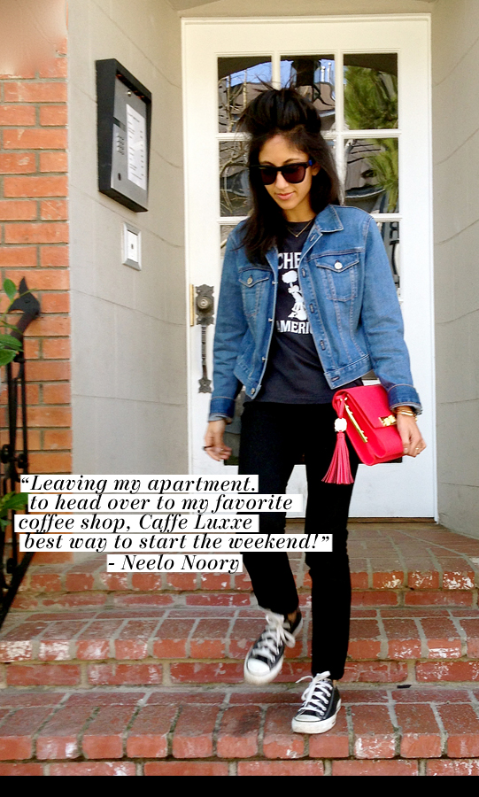 """Leaving my apartment to head over to my favorite coffee shop, Caffe Luxxe – best way to start the weekend!"" – Neelo Noory"