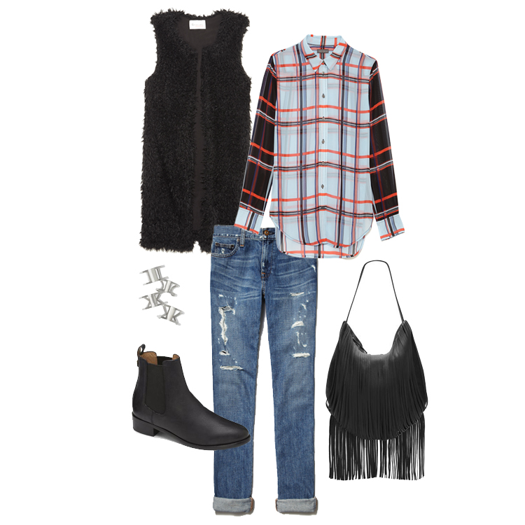 Clockwise from top left: Two by Vince Camuto Oversized Shaggy Faux Fur Vest; Vince Camuto Colorblock Plaid Blouse; Vince Camuto Irene Looped Fringe Hobo; Two by Vince Camuto Ripped Skinny Jean; VC Signature Mabry Stretch Panel Casual Bootie; Vince Camuto Rings.
