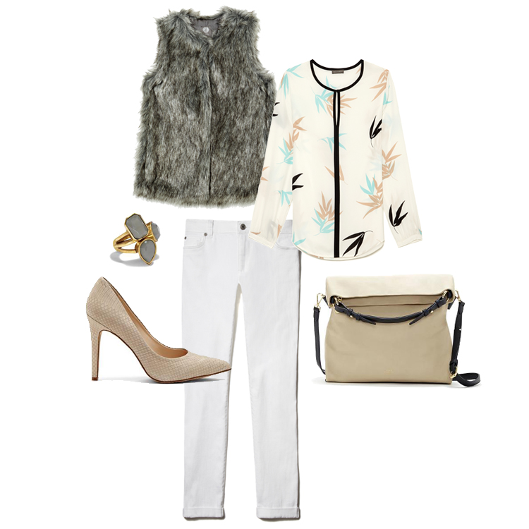 Clockwise from top left: Vince Camuto Faux-Fur Vest; Vince Camuto Long Sleeve Blouse; Vince Camuto Sydni Hobo Bag; Vince Camuto Kain Pump; Vince Camuto Stone Triple Stacked Rings.