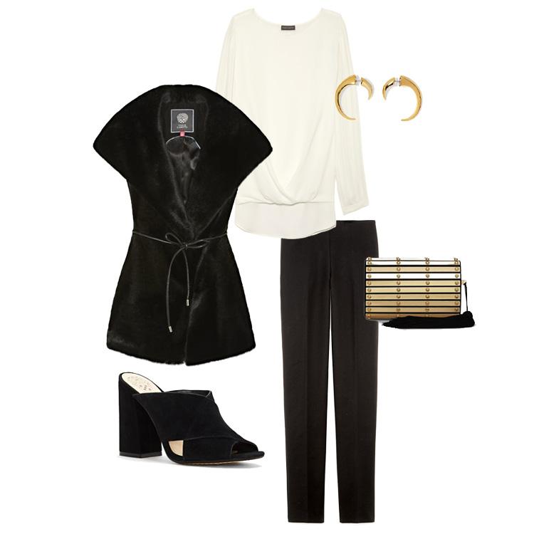 From left, moving clockwise: Vince Camuto Wide Collar Fur Vest; Vince Camuto Flutter Cuff Fold-Over Blouse; Vince Camuto Gold-Tone Double-Side Horn Earrings; Vince Camuto Seam Side Zip Legging; Vince Camuto Gilda  Minaudiere; Vince Camuto Jevan Sandal