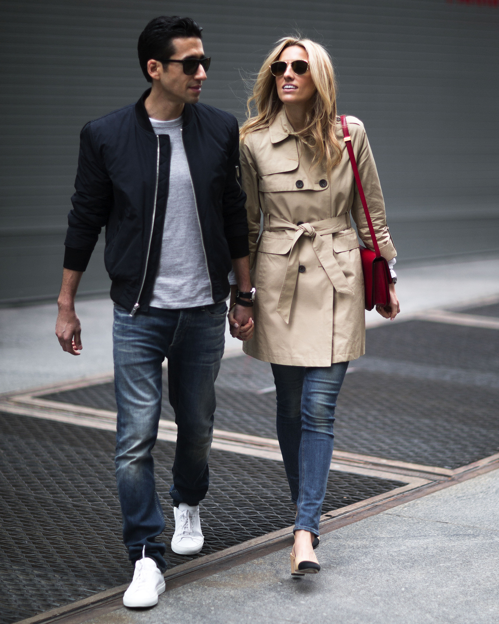 Cahue wears the  Vince Camuto Double Breasted Trench Coat . Adrien wears the  Vince Camuto Quilted Interior Bomber Jacket .