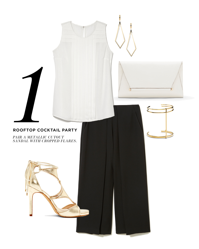 From top, moving clockwise: Vince Camuto Diamond Shape Hoop Earrings; Vince Camuto Addy Envelope Clutch; Vince Camuto T-Bar Cuff; Vince Camuto Foldover Culotte; Vince Camuto Rae Lace Up High Heel; Vince Camuto Directional Pleat Blouse;
