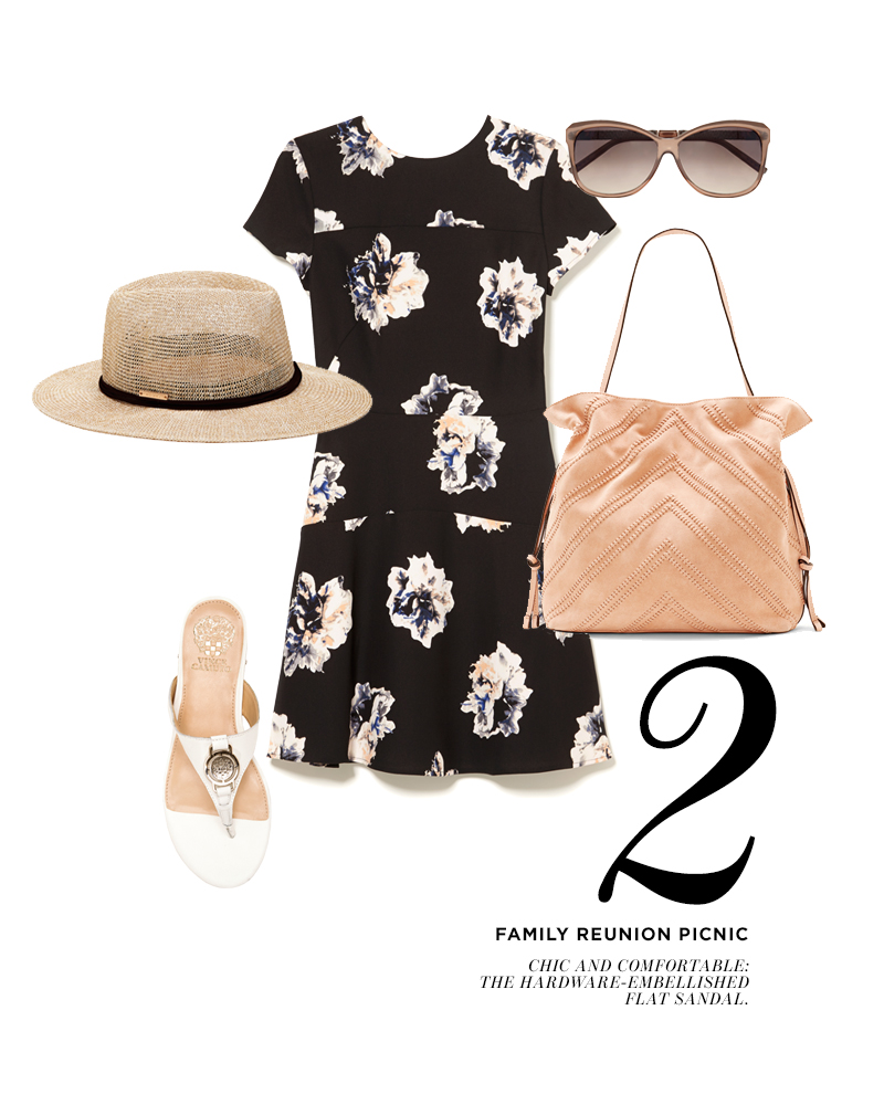 From top center, moving clockwise: Vince Camuto Duet Floral A-Line Dress; Vince Camuto Embossed Temple Cat Eye Sunglasses; Vince Camuto Nella Cross Body; Vince Camuto Braida Logo Thong Sandal; Vince Camuto Multi-Strand Panama Hat