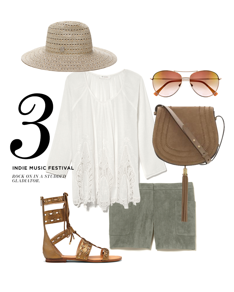 From top left, moving clockwise: Vince Camuto Metallic Braided Wide Brim Hat; Two by Vince Camuto Eyelet Detail Peasant Blouse; Vince Camuto Mirror Aviator Sunglasses; Vince Camuto Izzi Flap Bag; Vince Camuto Faux Suede Short; Vince Camuto Malka Gladiator Sandal