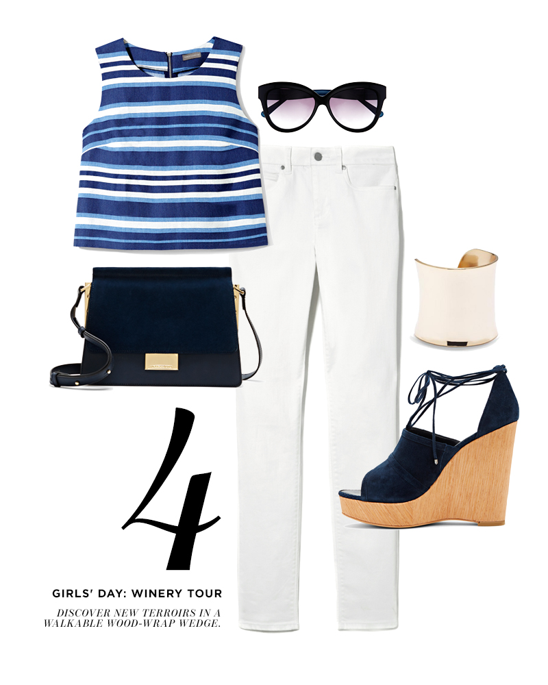 From top left, moving clockwise: Vince Camuto Multi-Stripe Shell; Vince Camuto Bold Cat Eye Sunglasses; Two by Vince Camuto White Skinny Jean; Vince Camuto Curved Metal Wide Cuff; Vince Camuto Maleena Platform Wedge; Vince Camuto Abril Cross Body