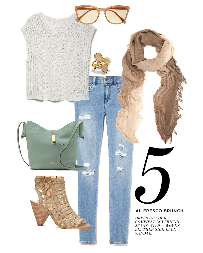 From top center, moving clockwise: Vince Camuto Cat Eye Ombre Sunglasses; Vince Camuto Peach Stone Triple Stacked Rings; Vince Camuto Ombre Magic Carpet Wrap; Two by Vince Camuto Ripped Skinny Jean; Vince Camuto Evinia Cone Heel Sandal; Vince Camuto Reed Bucket Bag; Two by Vince Camuto Pointelle Stitch Top