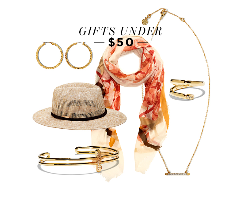 From top left, moving clockwise: Ridged Hoop Earrings; Botanical Blast Wrap; Wrap Around Ring; Linear Pave Pendant Necklace; Crystal Ornament Band Cuff; Panama Hat