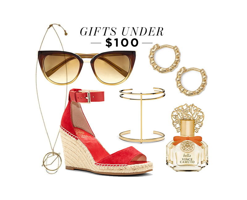 From top center, moving clockwise: Geo Overlap Pendant Necklace; Cat Eye Ombre Sunglasses; Scallop Huggie Earrings; Bella Vince Camuto Perfume; Double Band T-Bar Cuff; Torian Wedge Espadrille Sandal