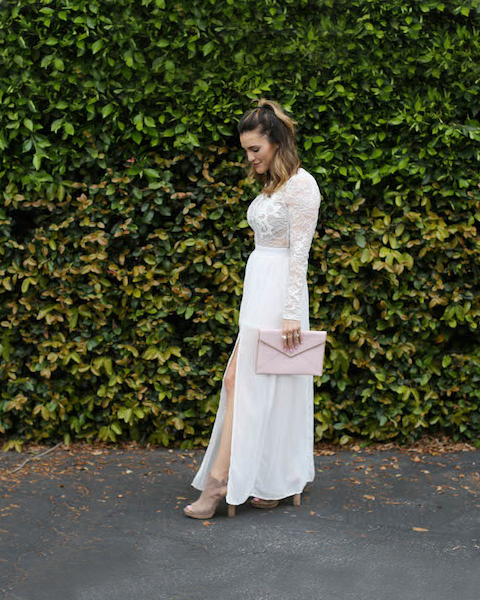 Dixon taps into two boho style cornerstones in one elegant look: the sweeping maxi-dress and suede platform heels.