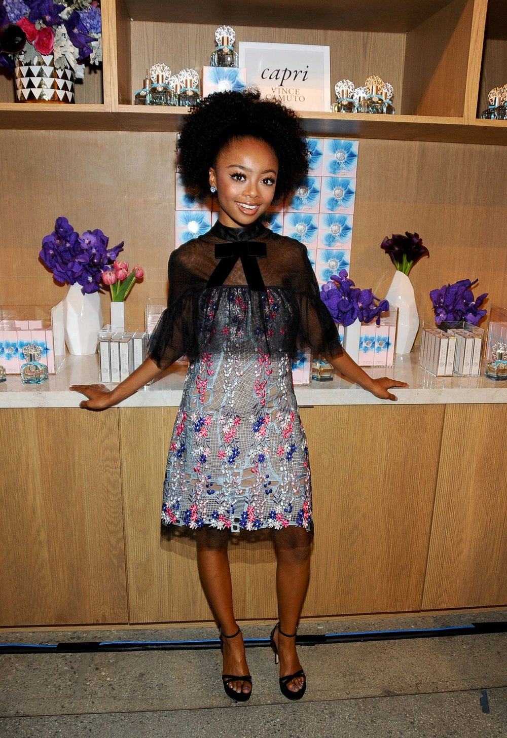 Skai Jackson wears Vince Camuto jeweled stud earrings.
