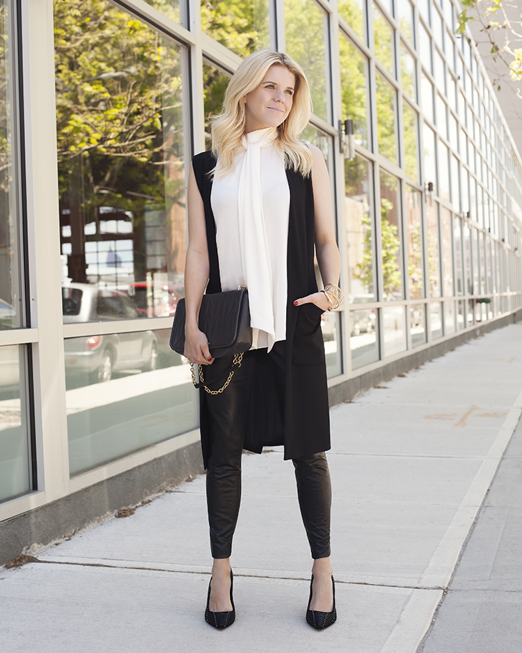 Patch-pocket Long Vest; Tie-neck Blouse; Two By Vince Camuto Faux Leather Leggings; Narissa Heel; Klem Flap Bag; Chain Cuff