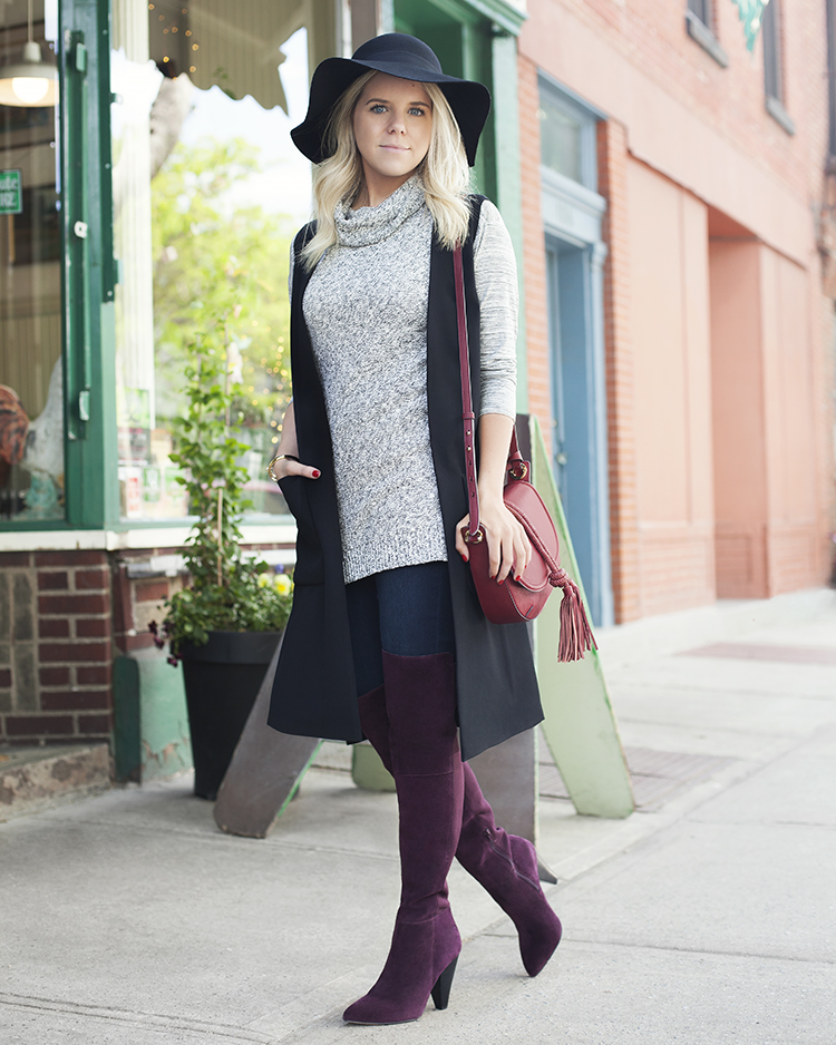 Patch-pocket Long Vest; Two By Vince Camuto Cowl-neck Sleeveless Sweater; Two by Vince Camuto Space-dye Mixed-media Top; Two By Vince Camuto Classic Skinny Jeans; Estiva Boot; Dree Crossbody Bag; Goldtone Cuff