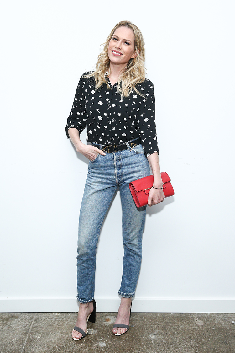 Erin Foster wears a Vince Camuto Parlour Ditsy Blouse,  Aster Clutch  and  Mairana Heels .