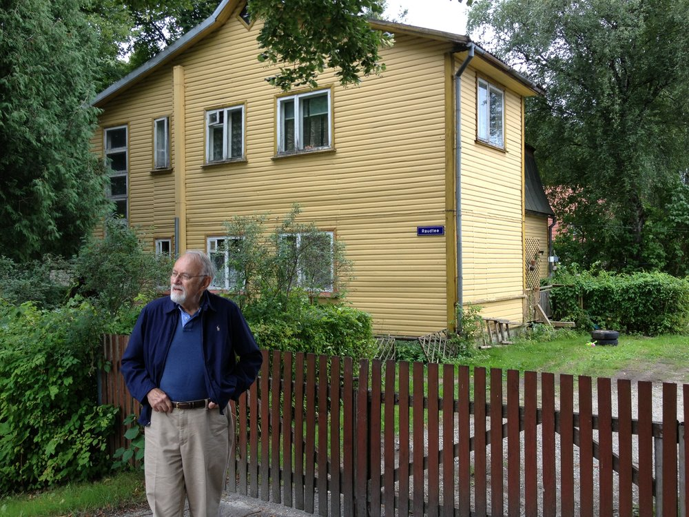Dad returning to his boyhood home in Paide, Estonia in 2013.