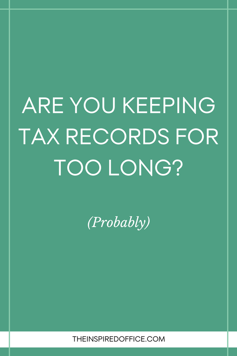 """How long should I keep tax records?"" is a common question I hear when helping clients declutter their houses. Click to read what I recommend to all of them."