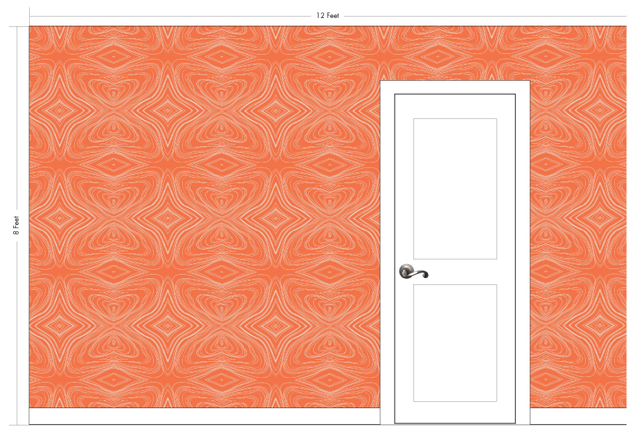 "GRAHAM tangerine | Pattern Repeat: 26""w x 26""h"