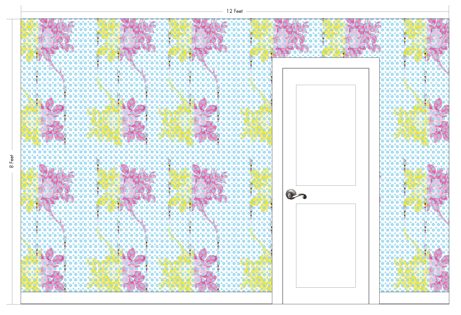 "RILEY cyan | Pattern Repeat: 26""w x 54""h"