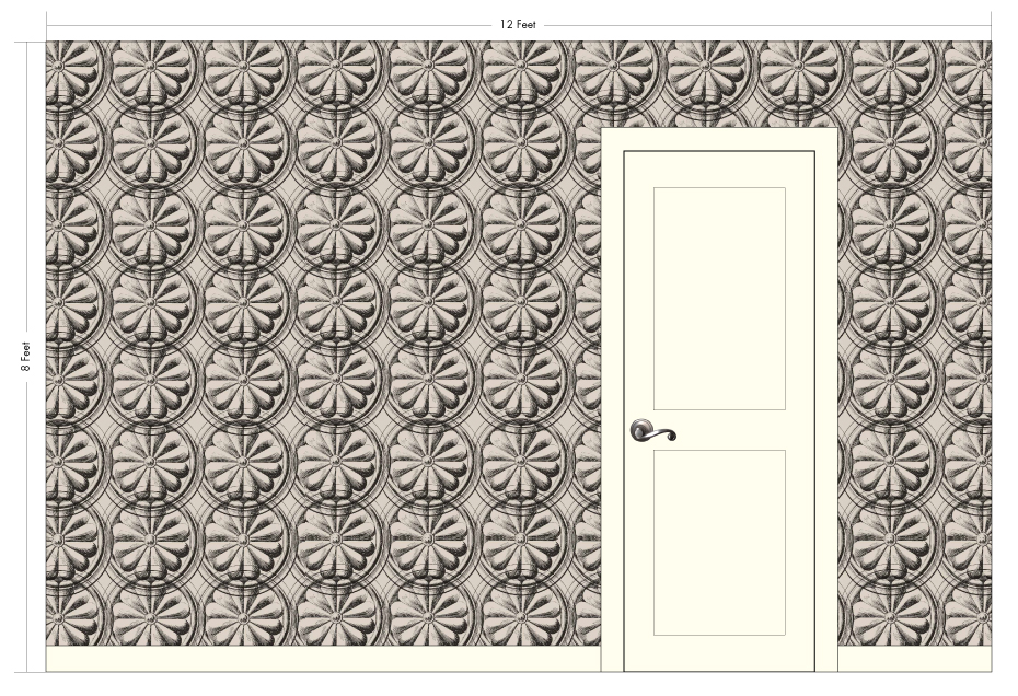 "GRANDE JULIUS taupe | Pattern Repeat: 16.75""w x 29""h"