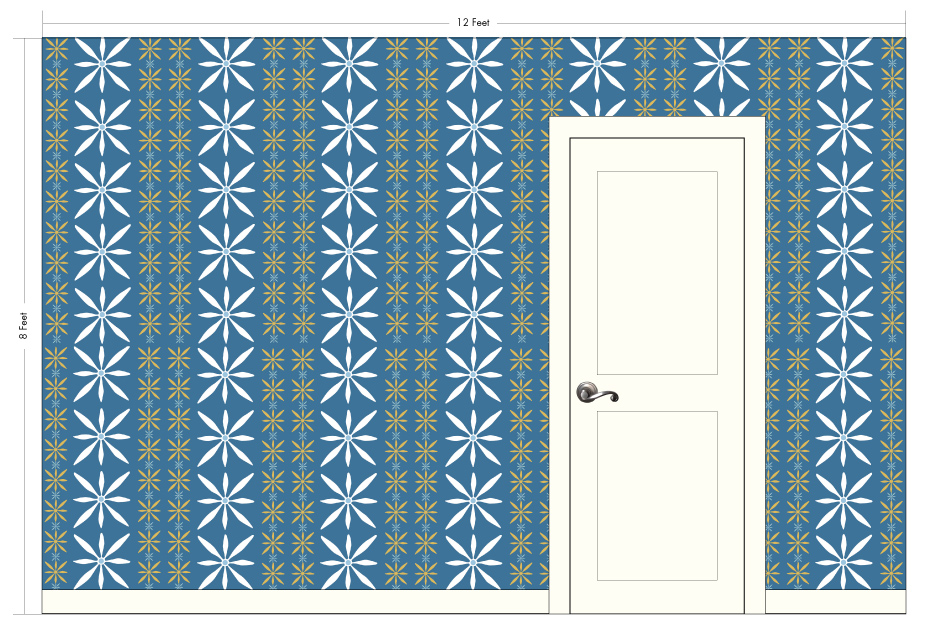 "HEIDI cornflower blue | Pattern Repeat: 21.25""w x 11""h"